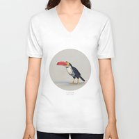 toucan V-neck T-shirts featuring TOUCAN by Dinosaur Design