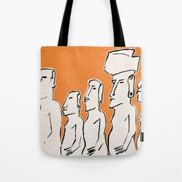 Moai statues in ink Tote Bag