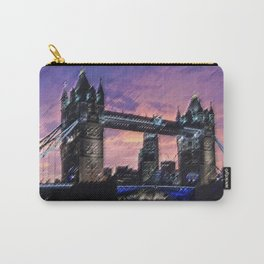 Tower Bridge, London at Sunset Landscape Painting by Jeanpaul Ferro Carry-All Pouch
