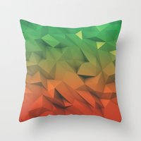 low poly Throw Pillows featuring Mango (Low Poly) by error23