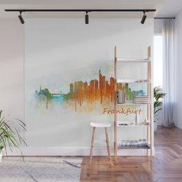 Frankfurt am Main, City Cityscape Skyline watercolor art v3 Wall Mural