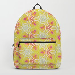 Bright Yellow Pink Accent Pattern Backpack