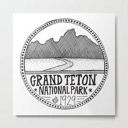 Grand Teton National Park Illustration Metal Print