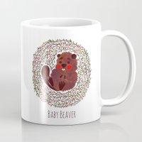 beaver Mugs featuring Baby Beaver by haidishabrina
