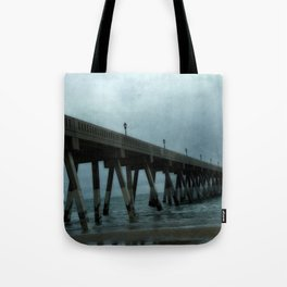 Surreal Haunting Coastal Blue Ocean Fishing Pier Tote Bag