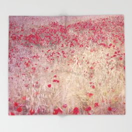 Fields of poppies Throw Blanket