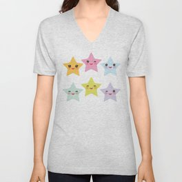 Kawaii stars, face with eyes, pink green blue purple yellow Unisex V-Neck