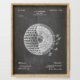 Golf Ball Patent - Golfer Art - Black Chalkboard Serving Tray