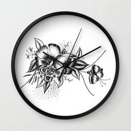 Graphic Flower Ink Art Wall Clock