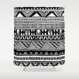 Black White Cute Girly Urban Tribal Aztec Andes Abstract Geometric Hand-drawn Pattern Shower Curtain
