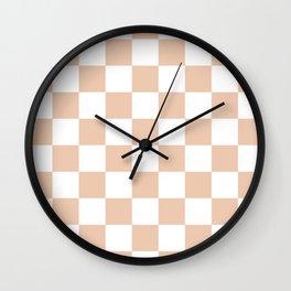 Checkered - White and Desert Sand Orange Wall Clock