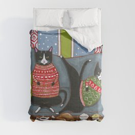 Holiday Couch Potato Cats Comforters