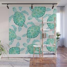 Sea Turtle Pattern - Blue Wall Mural