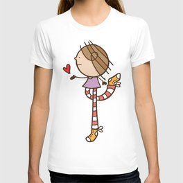 Girl with long legs and a love heart T-shirt