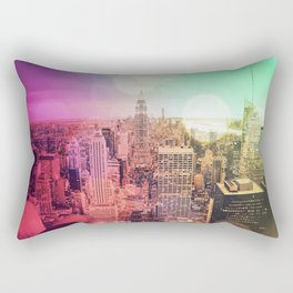 New York City Rainbow Bokeh Rectangular Pillow