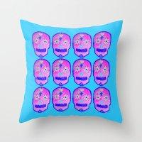 sugar skulls Throw Pillows featuring Sugar Skulls by GLITTER PICNIC