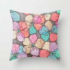 It's Always Summer Somewhere - bright poppy floral Throw Pillow