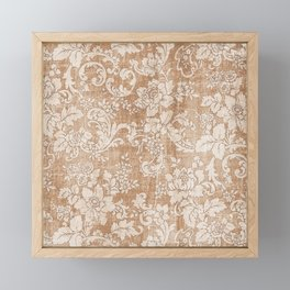 Vintage white brown grunge shabby floral Framed Mini Art Print