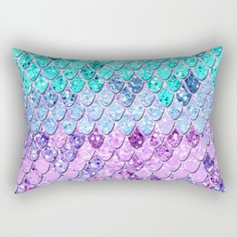 Mermaid Scales with Unicorn Girls Glitter #9 #shiny #decor #art #society6 Rectangular Pillow