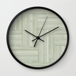 Monochrome Wickerwork Olive Green Wall Clock