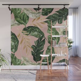greenery and gold tropical leaves on faded pink Wall Mural