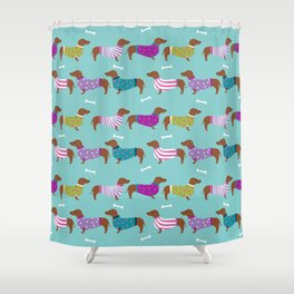 Dachshund sweaters cute gifts for dog lover pet friendly dog breed dachsie doxie dogs Shower Curtain