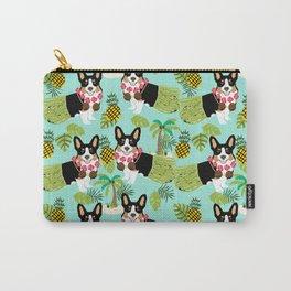 Tri Corgi Hula Grass Skirts Pineapple Tropical Summer Cute tricolored corgi design Carry-All Pouch