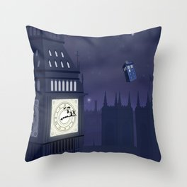 Second Star to the Right, Straight on to Gallifrey Throw Pillow