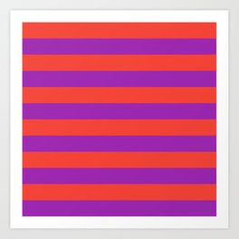 Even Horizontal Stripes, Red and Purple, L Art Print