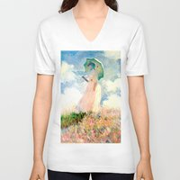 monet V-neck T-shirts featuring Claude Monet : Woman With A Parasol by PureVintageLove