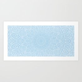 Hand Drawn Mandala // Blue Gray Tribal Eclectic Intricate Modern Minimal Trending Popular Art Print