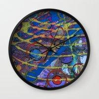 grid Wall Clocks featuring Grid by Heather Plewes Art