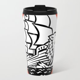 Galleon Ship Wolf on Bow Circle Retro Travel Mug