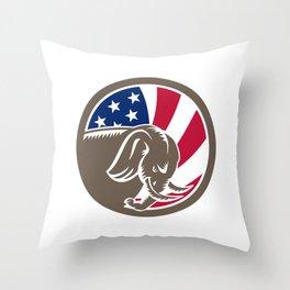 Republican Elephant Mascot USA Flag Throw Pillow