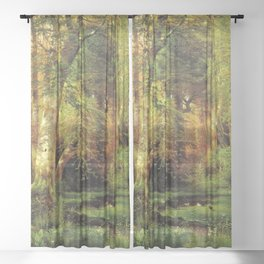 Forest Scene 1870 By Thomas Moran | Dense Woods Watercolor Reproduction Sheer Curtain