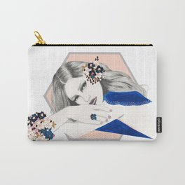 Blue and Peach Carry-All Pouch