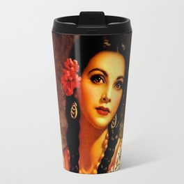Jesus Helguera Painting of a Mexican Calendar Girl with Braids Travel Mug