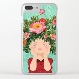 Spring Flower Girl Clear iPhone Case