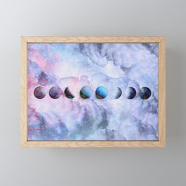Moon Phases on Cloudy Blue Magic Sky #moontravel #decor #collage Framed Mini Art Print