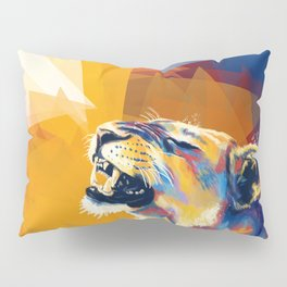In the Sunlight - Lion portrait, animal digital art Pillow Sham