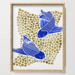Finn & Finley ~ Blue Koi Fish Gold Background Serving Tray
