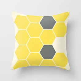 Yellow Honeycomb Throw Pillow