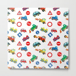 Kid cars, car and machine, tractor Metal Print