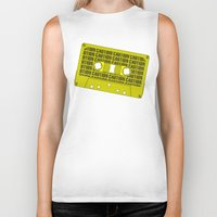 tape Biker Tanks featuring Caution Tape by Resistance