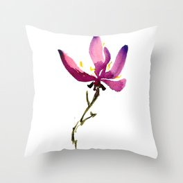 Single Orchid Throw Pillow