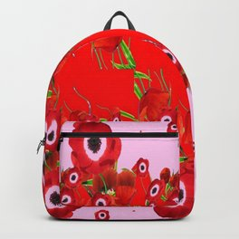 RED SPRING ANEMONE  GARDEN ABSTRACT FLORAL Backpack