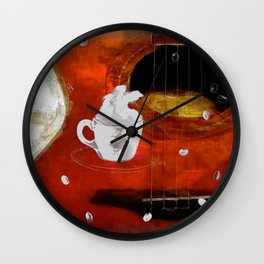 cup of coffee on acousic guitar - color Wall Clock