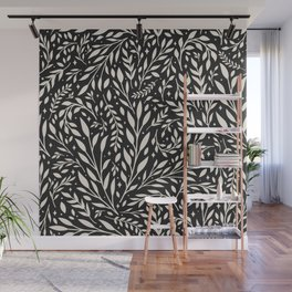 Leaves and Stars - Black/Nude Wall Mural