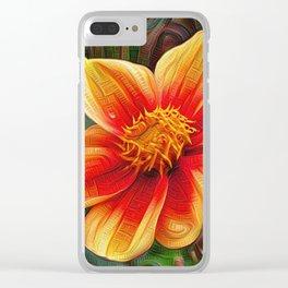 Orange Flower, DeepDream style Clear iPhone Case