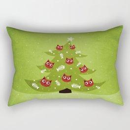 Cat Christmas Tree Rectangular Pillow